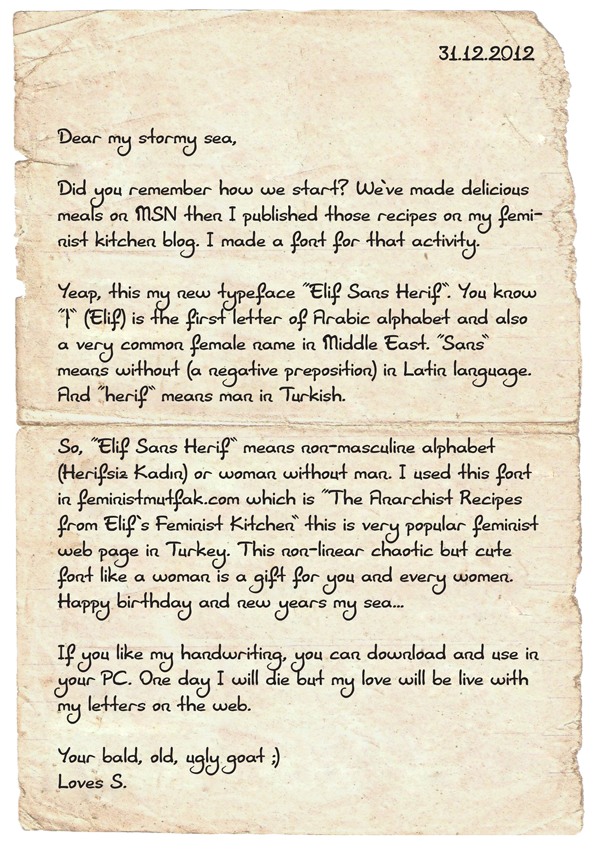 Elif Sans Herif fontundan mektup