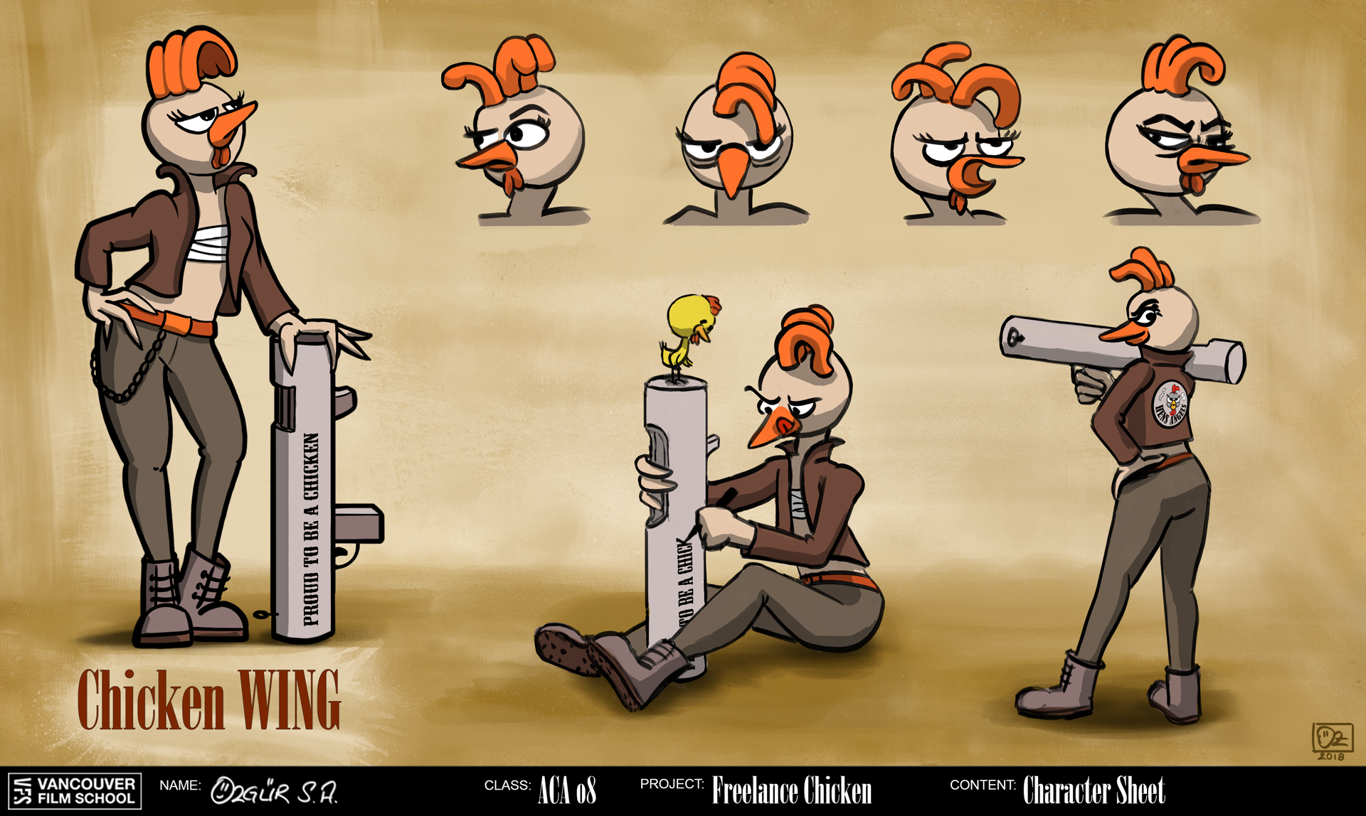 Freelance Chicken Character Concept Art: Chicken Wing