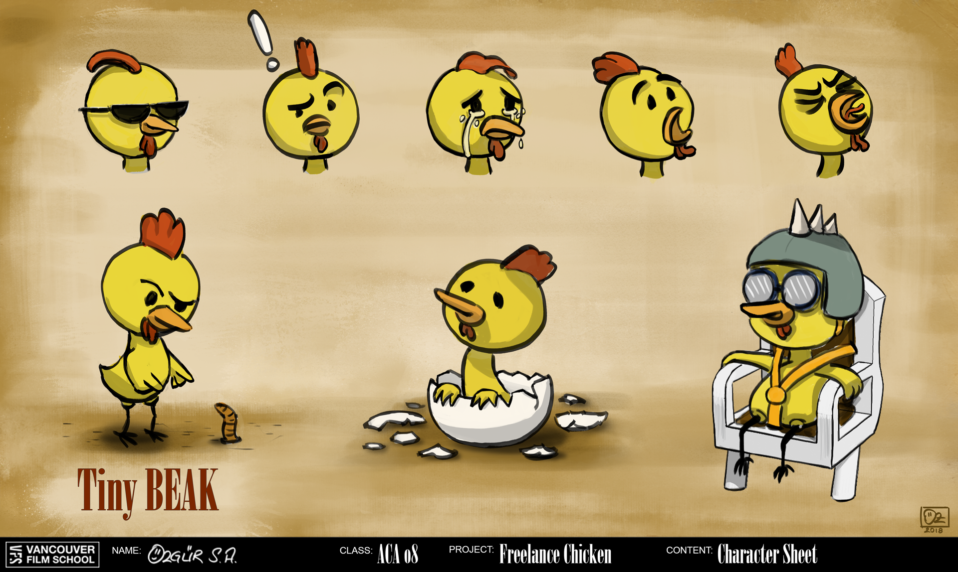Freelance Chicken Character Concept Art: Tiny Beak