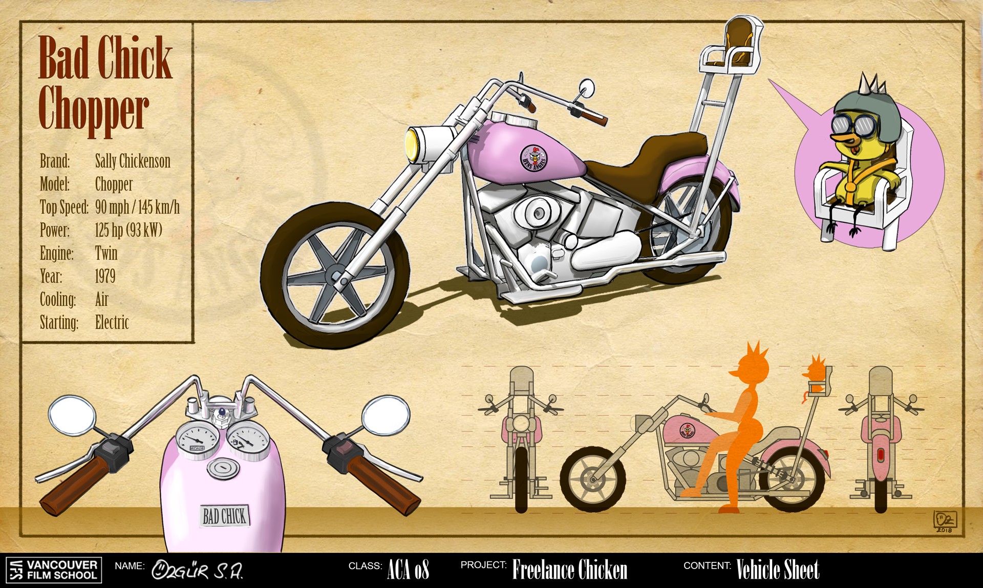 Freelance Chicken Vehicle Concept Art: Bad Chick Chopper