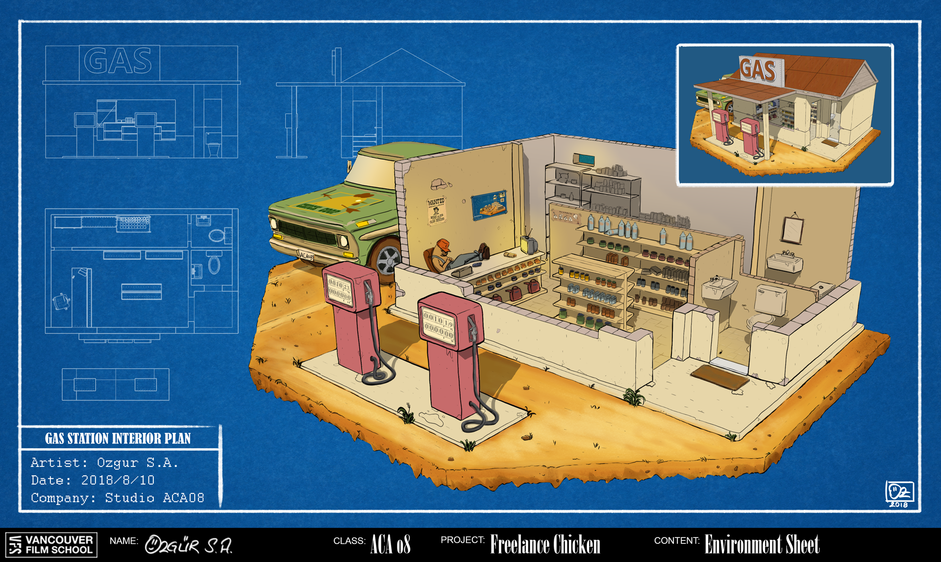 Freelance Chicken Environment Concept Art: Gas Station