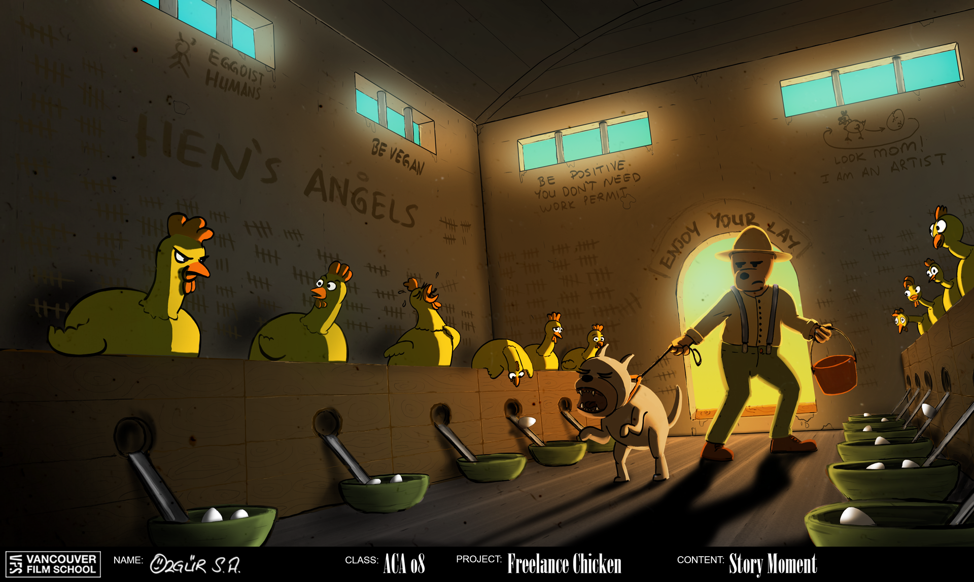 Freelance Chicken Environment Concept Art: Chicken Concentration Camp Interior