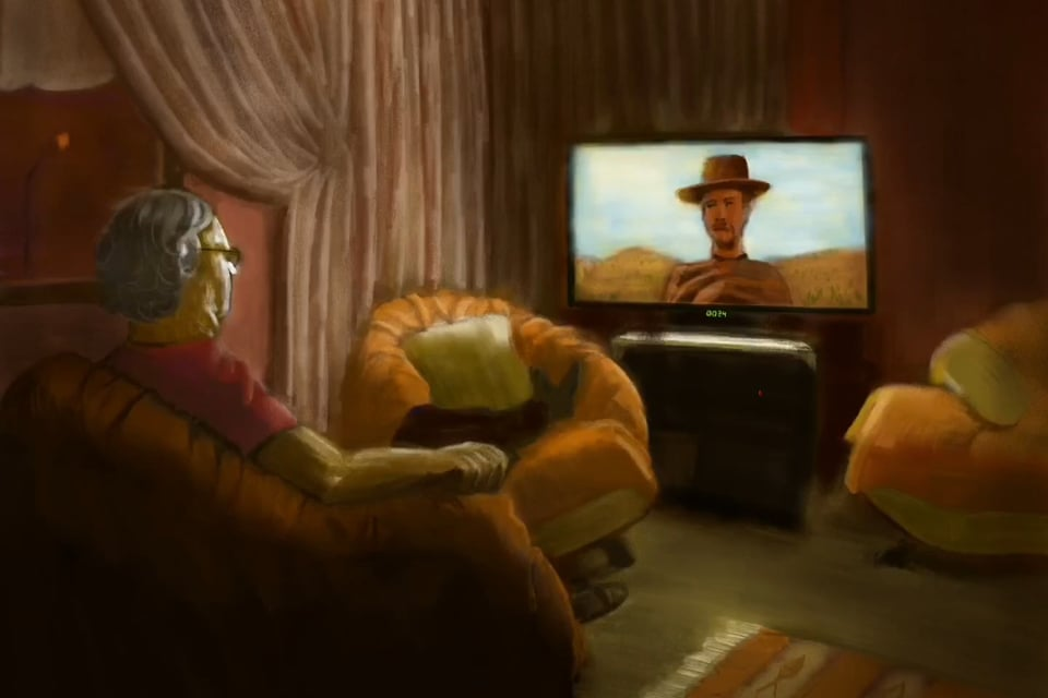 Digital Painting: My father watching western movie on the sofa
