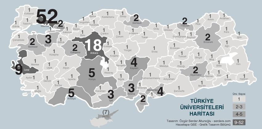 Türkiye Üniversiteleri Haritası 2016 – Bilgilendirme Grafiği Projesi